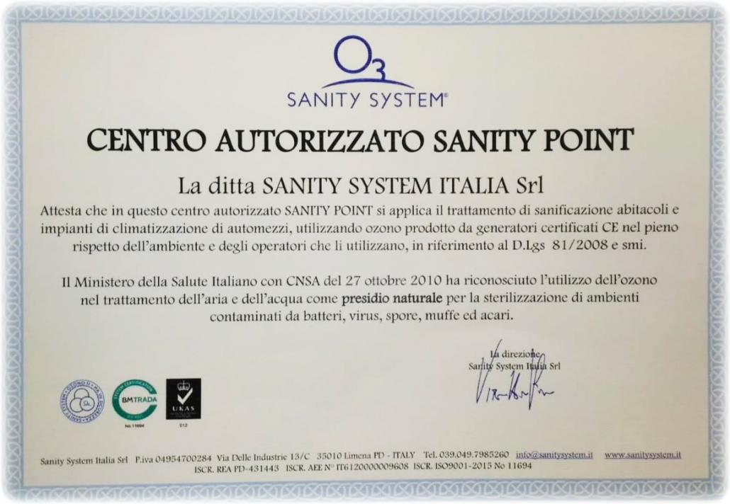 Centro autorizzato Sanity point